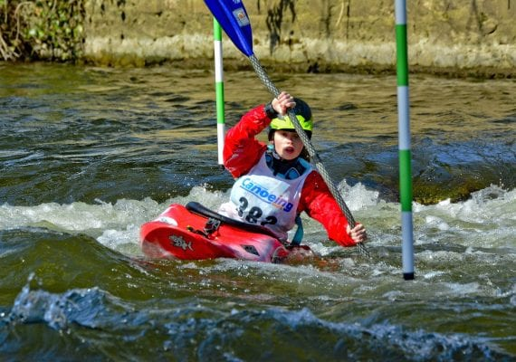 Kayaking the slalom course in Clonmel