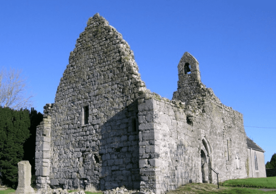 The ruins of St Ruadhan's Abbey on the Lough Derg Blueway